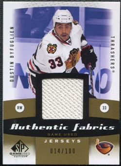 2010/11 Upper Deck SP Game Used Authentic Fabrics Gold #AFDB Dustin Byfuglien /100