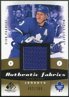 2010/11 Upper Deck SP Game Used Authentic Fabrics Gold #AFDP Dion Phaneuf /100