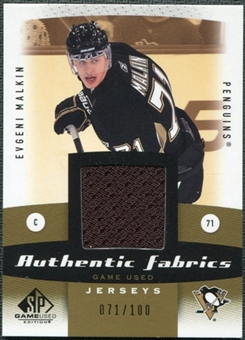 2010/11 Upper Deck SP Game Used Authentic Fabrics Gold #AFEM Evgeni Malkin /100