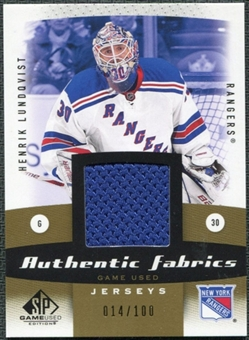 2010/11 Upper Deck SP Game Used Authentic Fabrics Gold #AFHL Henrik Lundqvist 14/100