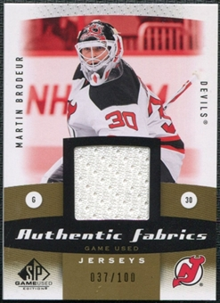 2010/11 Upper Deck SP Game Used Authentic Fabrics Gold #AFMB Martin Brodeur 37/100