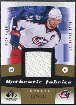 2010/11 Upper Deck SP Game Used Authentic Fabrics Gold #AFRN Rick Nash /100