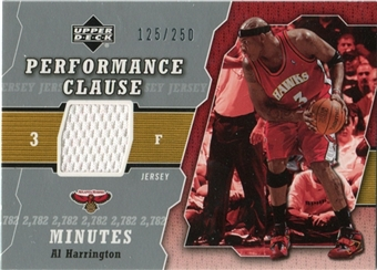 2005/06 Upper Deck Performance Clause Jerseys #AH Al Harrington /250