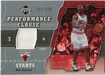 2005/06 Upper Deck Performance Clause Jerseys #BG Ben Gordon /250