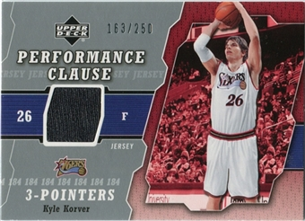2005/06 Upper Deck Performance Clause Jerseys #KK Kyle Korver /250