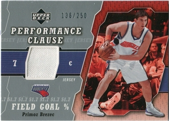 2005/06 Upper Deck Performance Clause Jerseys #PB Primoz Brezec /250