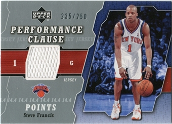 2005/06 Upper Deck Performance Clause Jerseys #SF Steve Francis /250