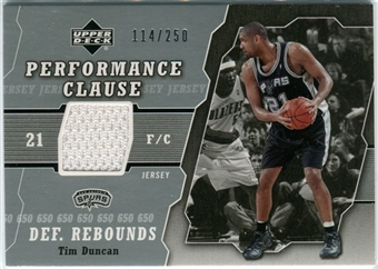 2005/06 Upper Deck Performance Clause Jerseys #TD Tim Duncan /250
