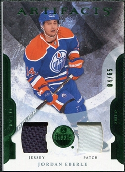 2011/12 Upper Deck Artifacts Jerseys Patch Emerald #14 Jordan Eberle /65