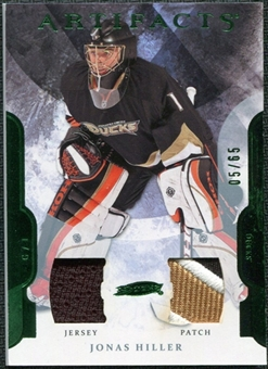 2011/12 Upper Deck Artifacts Jerseys Patch Emerald #24 Jonas Hiller /65