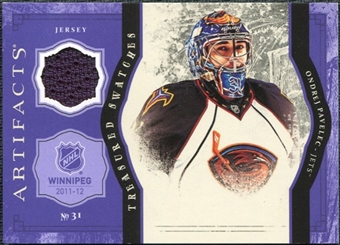 2011/12 Upper Deck Artifacts Treasured Swatches Purple #TSOP Ondrej Pavelec