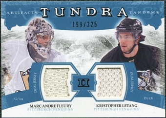 2011/12 Upper Deck Artifacts Tundra Tandems Jerseys Blue #TT2FL Marc-Andre Fleury Kristopher Letang /225