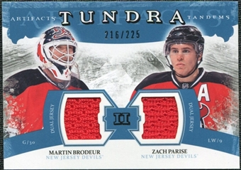2011/12 Upper Deck Artifacts Tundra Tandems Jerseys Blue #TT2MZ Martin Brodeur / Zach Parise /225