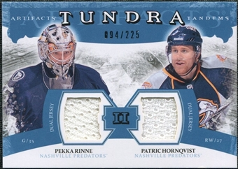2011/12 Upper Deck Artifacts Tundra Tandems Jerseys Blue #TT2RH Pekka Rinne / Patric Hornqvist /225