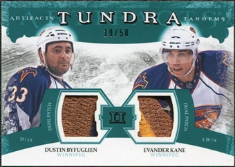 2011/12 Upper Deck Artifacts Tundra Tandems Patches Emerald #TT2DE Dustin Byfuglien / Evander Kane 19/50