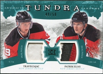 2011/12 Upper Deck Artifacts Tundra Tandems Patches Emerald #TT2EZ Travis Zajac / Patrik Elias /50