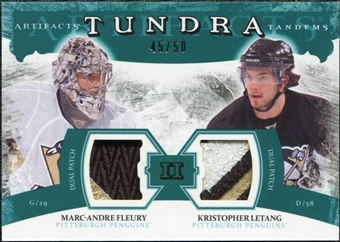 2011/12 Upper Deck Artifacts Tundra Tandems Patches Emerald #TT2FL Marc-Andre Fleury / Kristopher Letang /50