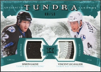 2011/12 Upper Deck Artifacts Tundra Tandems Patches Emerald #TT2LG Vincent Lecavalier / Simon Gagne /50
