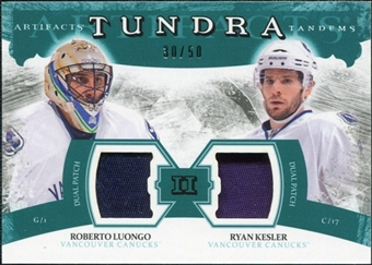 2011/12 Upper Deck Artifacts Tundra Tandems Patches Emerald #TT2LK Roberto Luongo Ryan Kesler /50