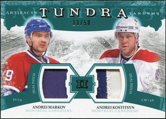 2011/12 Upper Deck Artifacts Tundra Tandems Patches Emerald #TT2MK Andrei Markov / Andrei Kostitsyn /50