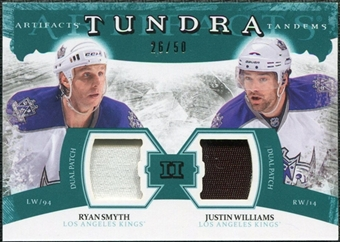 2011/12 Upper Deck Artifacts Tundra Tandems Patches Emerald #TT2RJ Ryan Smyth / Justin Williams /50