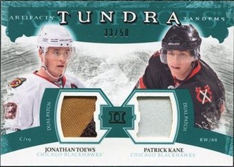 2011/12 Upper Deck Artifacts Tundra Tandems Patches Emerald #TT2TK Jonathan Toews / Patrick Kane /50