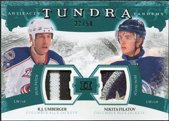 2011/12 Upper Deck Artifacts Tundra Tandems Patches Emerald #TT2UF R.J. Umberger / Nikita Filatov /50