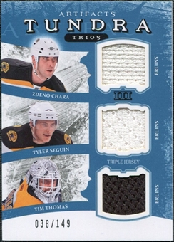 2011/12 Upper Deck Artifacts Tundra Trios Jerseys Blue #TT3BEES Zdeno Chara Tim Thomas Tyler Seguin /149
