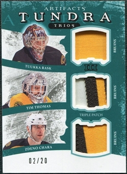 2011/12 Upper Deck Artifacts Tundra Trios Patches Emerald #TT3BOS Tuukka Rask Tim Thomas Zdeno Chara /20