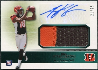 2011 Topps Precision Rookie Jumbo Relic Autographs Green #RAJRAG A.J. Green RC Autograph 21/25