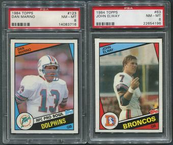 1984 Topps Football Partial Set (NM-MT) Marino & Elway Both PSA 8