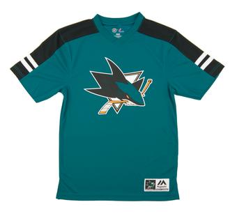 San Jose Sharks Majestic Quick Play Teal Performance Tee Shirt (Adult Small)