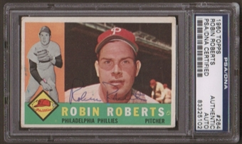 1960 Topps Robin Roberts #264 Autographed Card PSA Slabbed (5102)