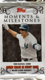 2008 Topps Moments & Milestones Baseball Hobby Pack