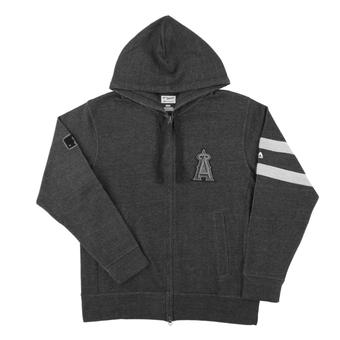 Los Angeles Angels Majestic Gray Clubhouse Fleece Full Zip Hoodie (Adult Medium)