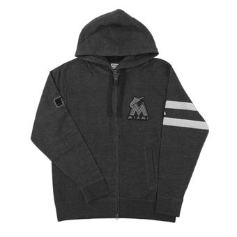 Miami Marlins Majestic Gray Clubhouse Fleece Full Zip Hoodie (Adult X-Large)