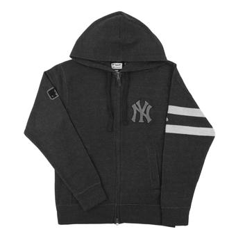 New York Yankees Majestic Gray Clubhouse Fleece Full Zip Hoodie (Adult Large)