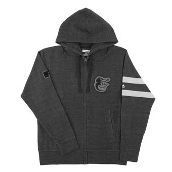 Baltimore Orioles Majestic Gray Clubhouse Fleece Full Zip Hoodie (Adult Large)