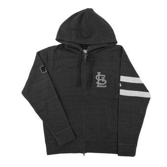 St. Louis Cardinals Majestic Gray Clubhouse Fleece Full Zip Hoodie (Adult X-Large)
