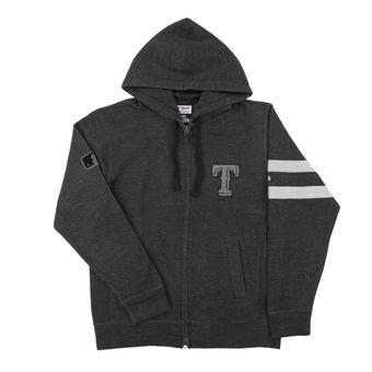 Texas Rangers Majestic Gray Clubhouse Fleece Full Zip Hoodie (Adult X-Large)