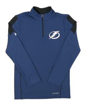 Tampa Bay Lightning Majestic Blue Status Inquiry Performance 1/4 Zip Long Sleeve (Adult S)
