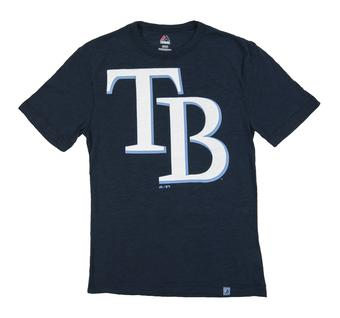 Tampa Bay Rays Majestic Navy Mental Metal Dual Blend Tee Shirt (Adult Small)