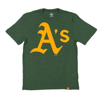 Oakland Athletics Majestic Green Mental Metal Dual Blend Tee Shirt (Adult Small)