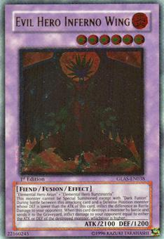 Yu-Gi-Oh Gladiator's Assault 1st Ed. Single Evil Hero Inferno Wing Ultimate Rare - NEAR MINT (NM)