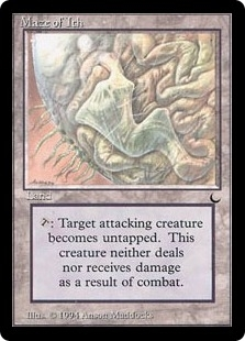 Magic the Gathering Dark Single Maze of Ith MODERATE PLAY (VG/EX)
