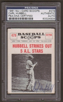 1961 Nu-Card Scoops Carl Hubbell #479 Autographed Card PSA Slabbed (4934)