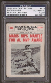 1961 Nu-Card Scoops Roger Maris #416 Autographed Card PSA Slabbed (5072)