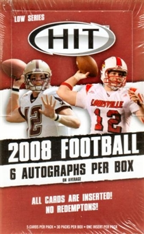 2008 Sage Hit Football Low Series Hobby Box