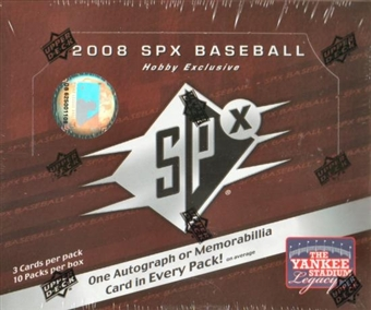 2008 Upper Deck SPx Baseball Hobby Box
