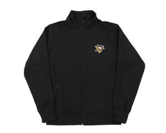 Pittsburgh Penguins Level Wear Venture Black Performance Track Jacket (Womens X-Large)
